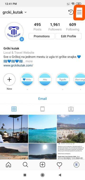 instagram meni