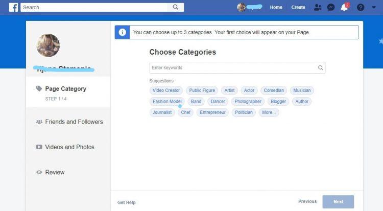 drugi korak - biranje kategorija