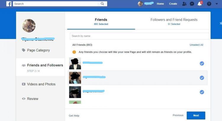 treci korak pretvaranja Facebook profila u stranicu