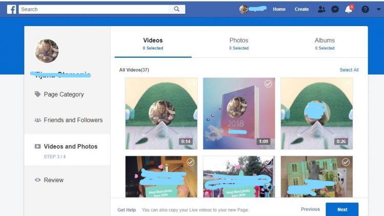 Biranje fotografija i video zapisa koja zelite da prenesete na Facebook stranicu