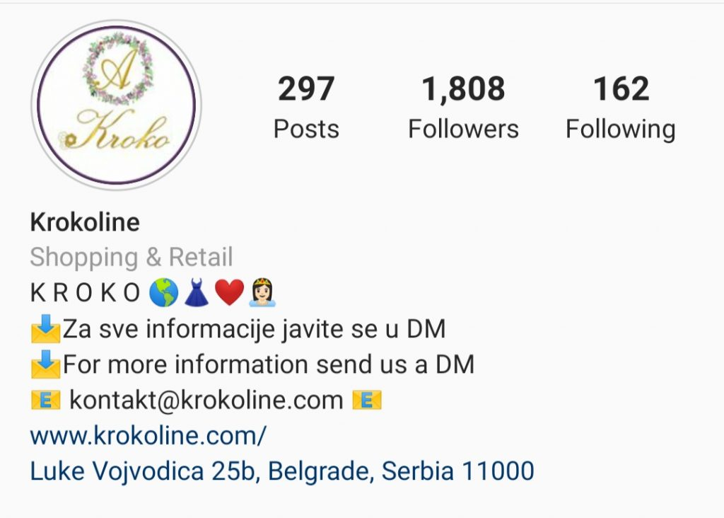 Instagram opis profila