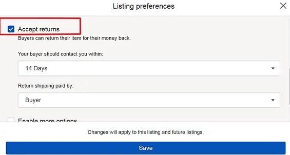 vracanje robe na ebay
